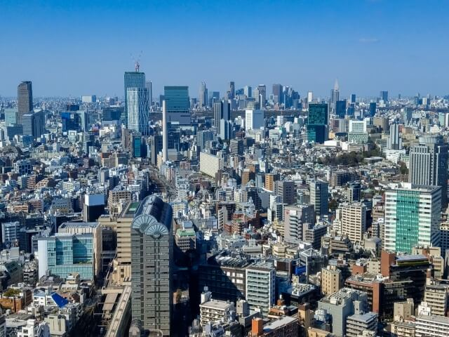 上空から見た東京都目黒区