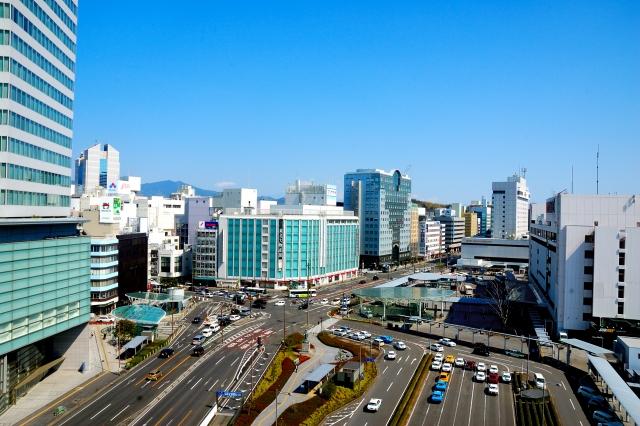 静岡駅の上空