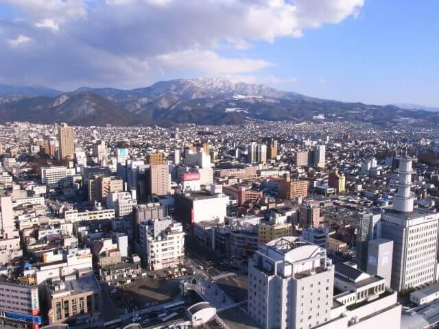 上空からみた山形市