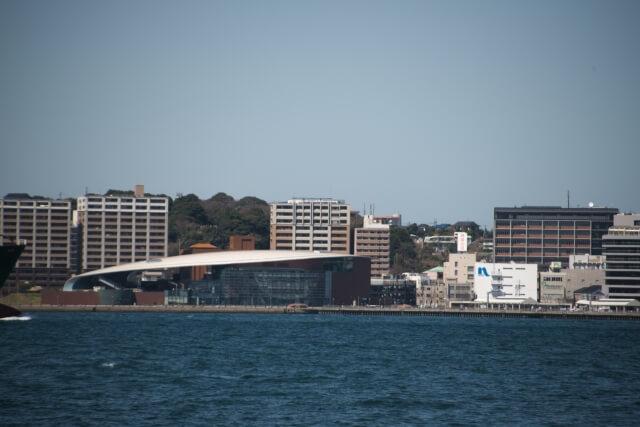 港から見た下関市